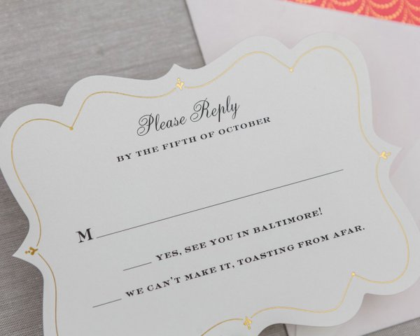 golden garland wedding reply card