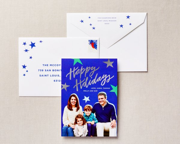 blue stars personalized holiday card