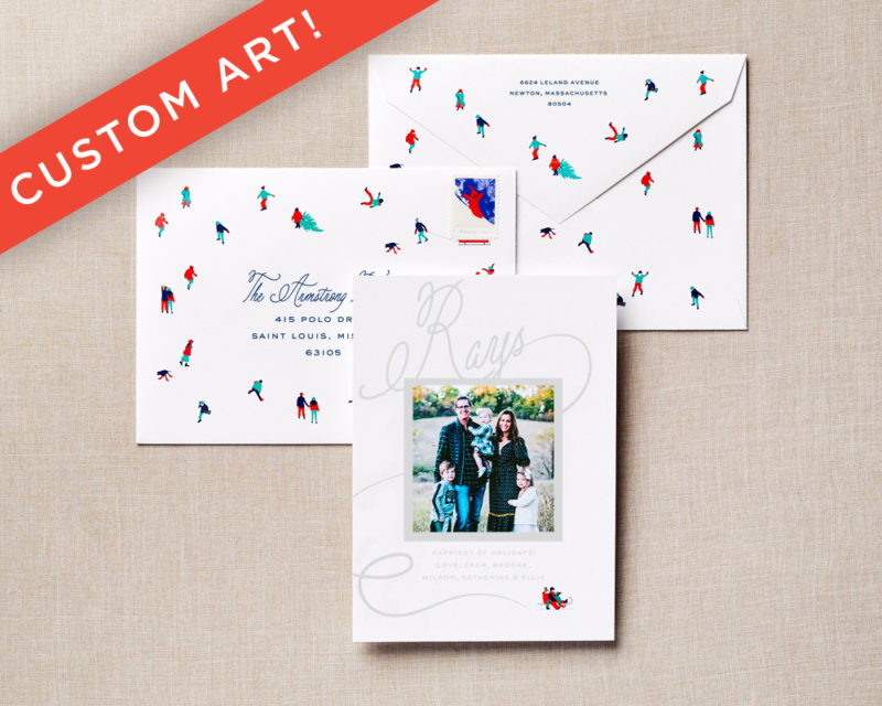 illustrated snow scene holiday card