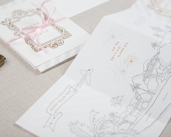 story unfolds gold foil details wedding save the dates