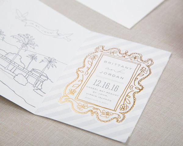 story unfolds gold foil frame wedding save the date