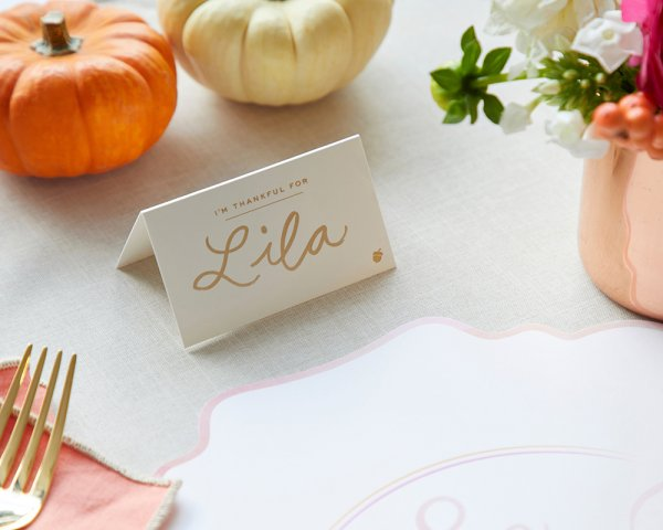 thanksgiving foil placecard detail