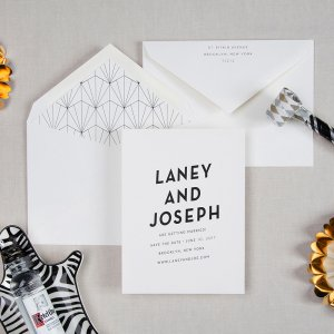 the shimmy modern art deco wedding save the date