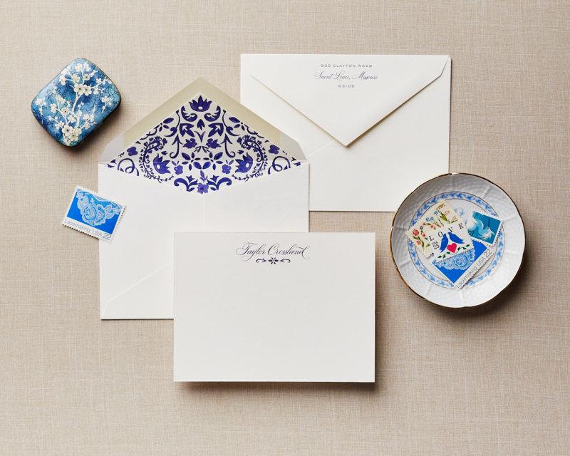 indigo chinoiserie personalized stationery