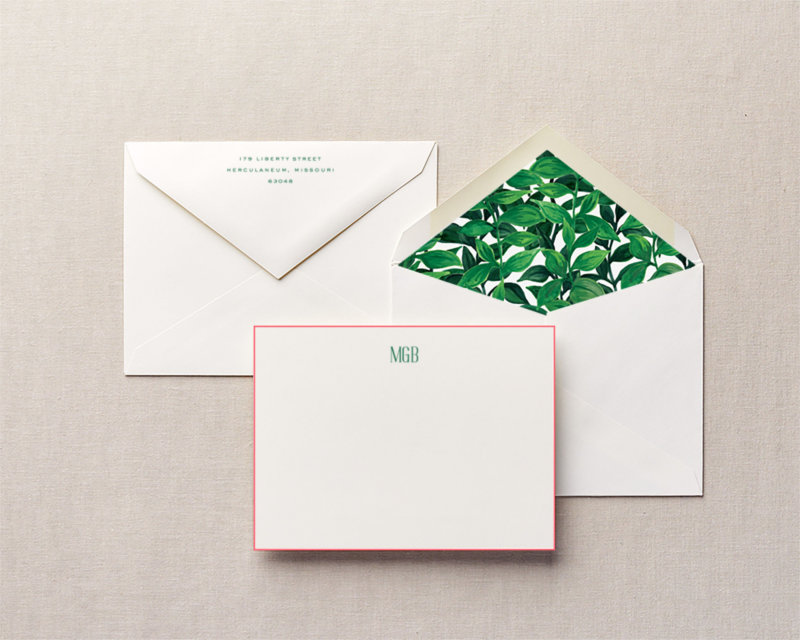 dream in greenery personalized stationery