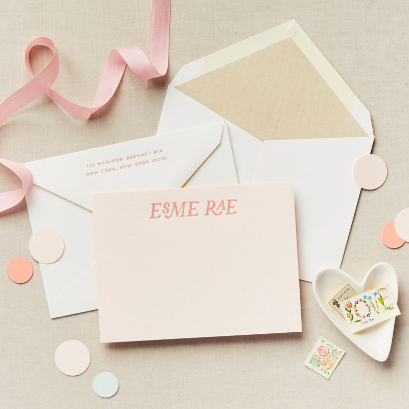 pink letterpress linen liner personalized stationery