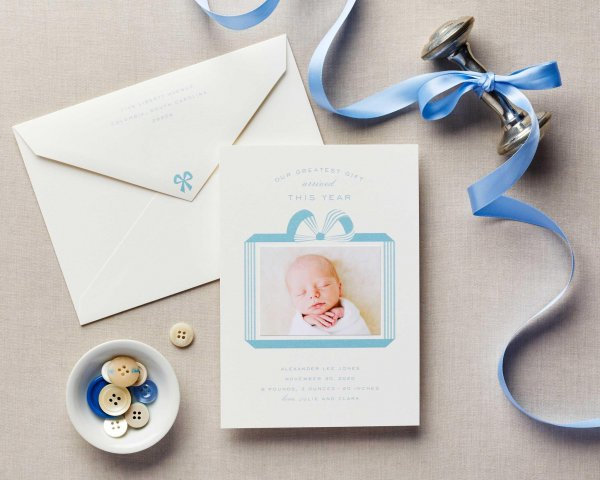 greatest gift boy baby announcement holiday card