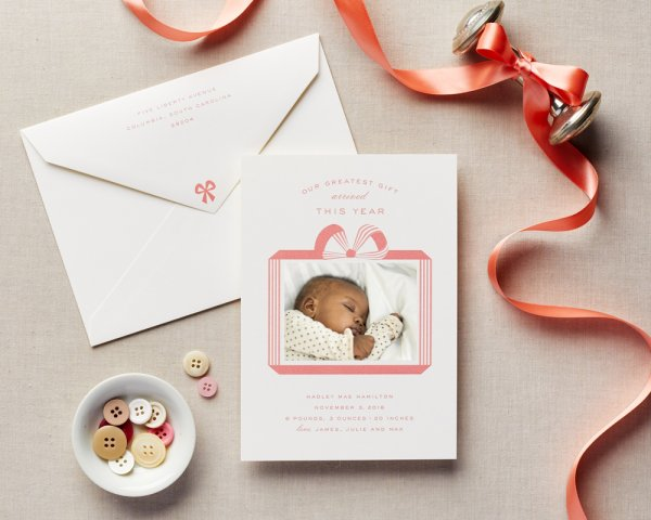 greatest gift girl baby announcement holiday card