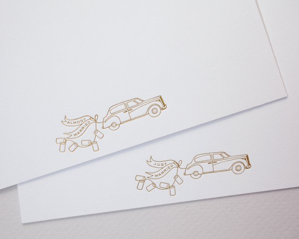 just married almost married letterpress stationery