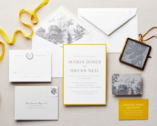 gold and gray wedding save the date suite