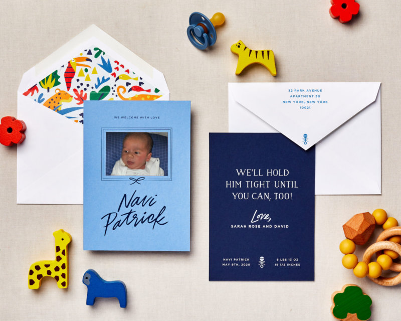 until you can socially distanced baby announcement blue
