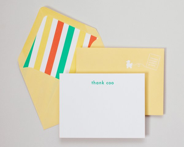 thank coo baby stationery
