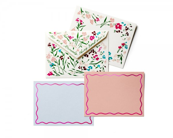 pink ribbon girls stationery