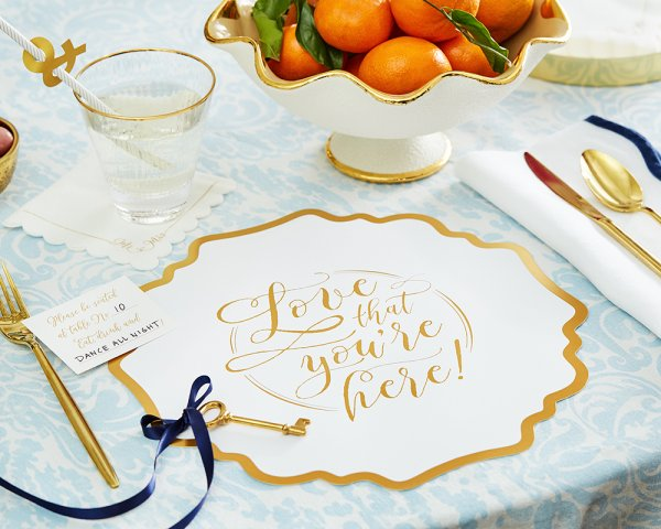 gold foil stamped paper charger