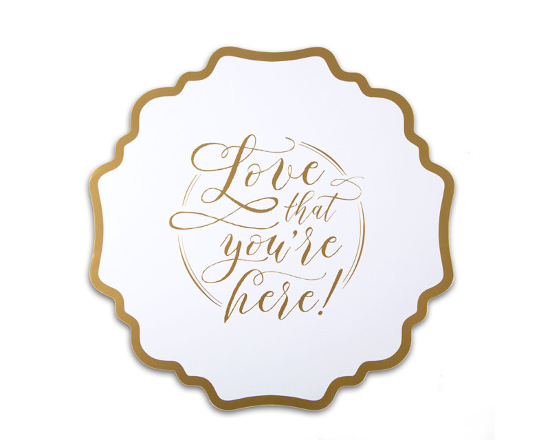 gold foil stamped charger