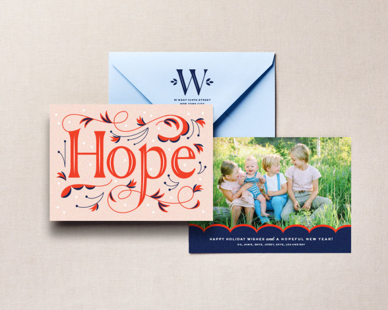 hope typography holiday card