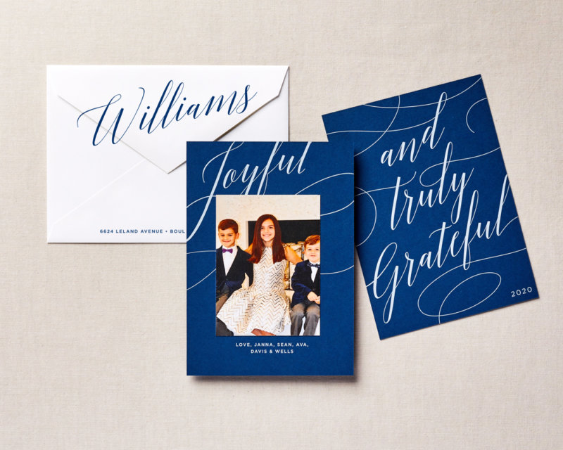 script type holiday card blue