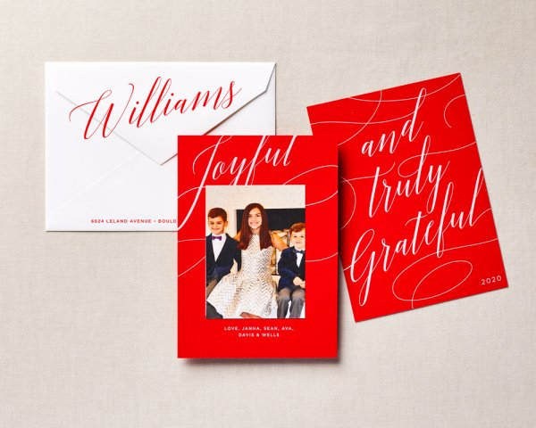 script type holiday card red